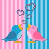 Birds in love. Over pink and blue background Stock Photography
