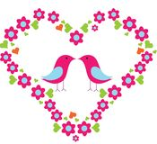 Birds in love. Beautiful birds in love with floral heart Stock Photo