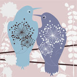Birds in love. Two birds in love - abstract vector wallpaper stock illustration