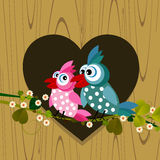 Birds in love. Cartoon background with two birds in love Stock Image