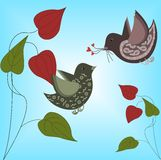 Birds in love. Illustration of birds in love with blue background Royalty Free Stock Photography