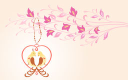Birds in love. Floral illustration with birds in love sitting in decorative heart. Horizontal version Stock Photo