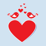 Birds in love. Paper heart with birds in love.Vector eps10 Royalty Free Stock Photo