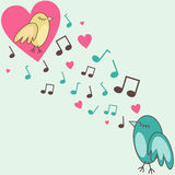 Birds-in-love. Vector illustration of birds singing a love song Stock Images