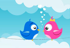Birds in love. Illustration of two birds in love on a wire Stock Images