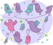 Birds in love. Cute cartoon  birds in love Stock Photo