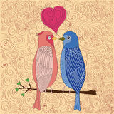Birds in love. Abstract background with birds in love Stock Photography