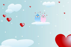 Birds in love background - valentine theme. Valentine background with birds in love on a cloud on the sky Stock Photos