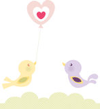 Birds Love Balloon. Illustration of two cute birds with a heart baloon Stock Illustration