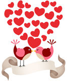 Birds in love with banner. Scalable vectorial image representing a birds in love with banner, isolated on white Stock Photo