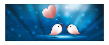 Web banner birds with balloon heart. Valentine s day blue background. Birds in love. Bird giving a pink heart balloon to another bird. Background with light vector illustration