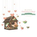 Birds in love and bird house stock illustration