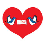 Birds of love. Bluebirds hold a placard love on heart background Royalty Free Stock Photo