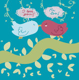 Birds in love card. Two little birds in love. Vector illustration Royalty Free Stock Images