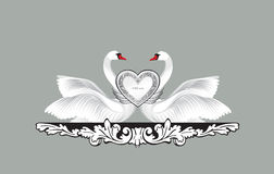 Birds in love with floral decoration. Couple of swans silhouette Royalty Free Stock Photography