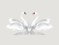 Birds in love with floral decoration. Couple of swans. Two love Stock Photography