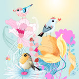 Birds in love on florets. Funny birds in love on a beautiful flowered Stock Image