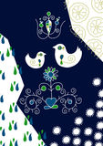 Birds in love in folk. Decorative background birds in love in folk vector illustration