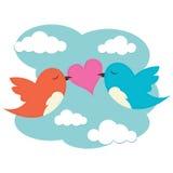 2 birds with love heart Royalty Free Stock Photos