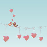 Birds in Love. With hearts Stock Photo