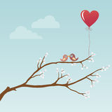 Birds in Love. With hearts Stock Photos