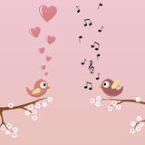 Birds in Love. With hearts Royalty Free Stock Photo