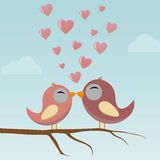 Birds in Love. With hearts Royalty Free Stock Images