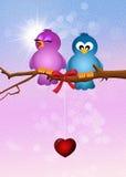 Birds in love. Illustration of birds in love Stock Photos