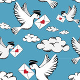 Birds with love letters in the sky with clouds. Seamless pattern. Seamless pattern showing birds with love letters in the sky. Vector illustration on blue royalty free illustration