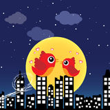 Birds in love at night Stock Photography