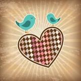 Birds love. Over grunge background vector illustration Royalty Free Stock Image