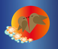 Birds in love. Pair of birds kissing forming a heart Royalty Free Stock Photo