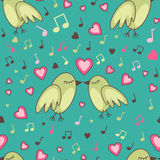 Birds-in-love-pattern Stock Image