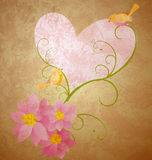 Birds love pink flowers and hearts illustration Stock Image