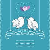 Birds In Love. The postcard with strings for text with two birds in love royalty free illustration