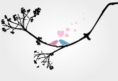Birds love in tree vector. Birds love kiss in tree wedding Royalty Free Stock Images