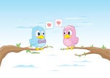 Birds in love. Valentines Day elements Stock Photo