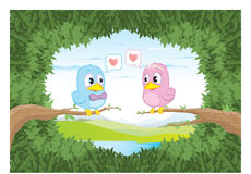 Birds in love for Valentines Day Stock Photo