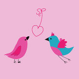 Birds love. Vector illustration background or postcard to Valentin`s day with two birds fall in love Stock Images