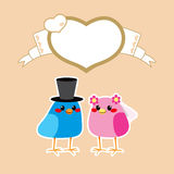 Birds Love Wedding. Cute birds in love wedding getting married under brown heart frame with copy-space Royalty Free Stock Photo