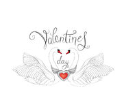 Birds in love with winged red heart decoration and handwritten l. Ettering St Valentine`s day. Couple of swans line art sketch. Two love hearts concept Stock Photography