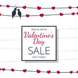 Birds in love on wire as special offer banner. For valentine`s day sale Royalty Free Stock Image