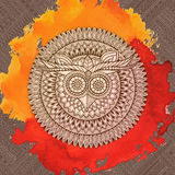 Birds mandala theme. Owl seamless pattern Stock Image