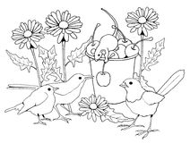 Birds and Mice with Flowers, Coloring Page. This is my original line drawing of birds among flowers; a little mouse is busy with some cherries in a pail. This is Royalty Free Stock Image