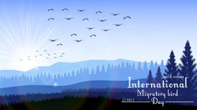 Birds migratory day with mountains and palm tree on sunrise background. Illustration of Birds migratory day with mountains and palm tree on sunrise background Royalty Free Stock Photography