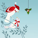 Birds with Mistletoe. Stylized birds male with Santa hat and bowtie and female with bow.  Perhaps a proposal. Mistletoe Royalty Free Stock Photography