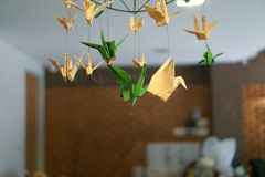 A birds mobile by paper work. royalty free stock images