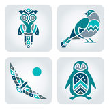 Birds mosaic icons. Set of 4 vector multicolor birds icons stock illustration