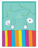Birds, music and love. Cheerful card. two cute little birds met and fell in love.  illustration Royalty Free Stock Photography