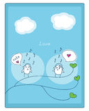 Birds, music and love. Cheerful card. two cute little birds met and fell in love.  illustration Stock Photos